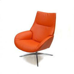 Fauteuil Lotus de Kebe finition cuir Orange