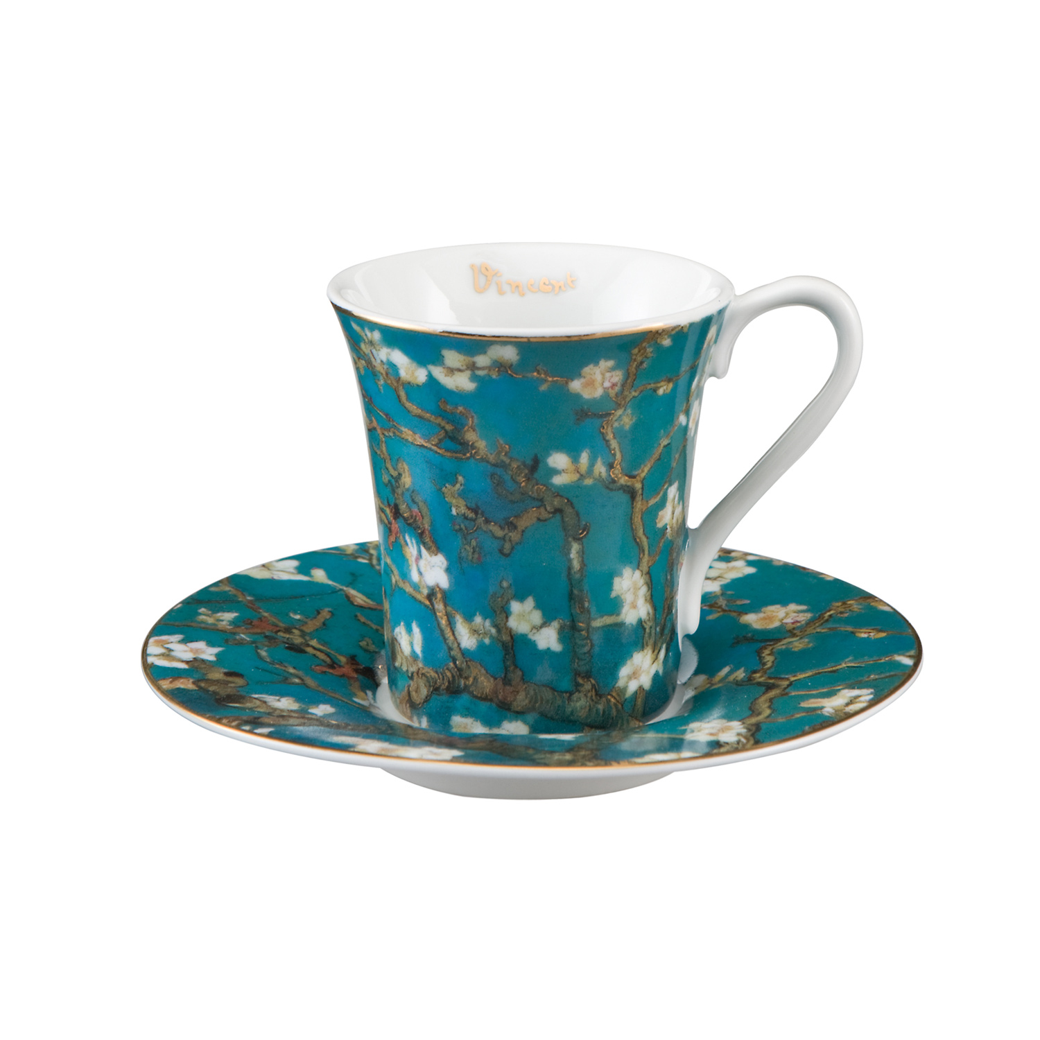 tasse caf en porcelaine fine amandier en fleurs van gogh. Black Bedroom Furniture Sets. Home Design Ideas